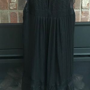 Anthropologie  Floreat Black Pleated Lace Dress